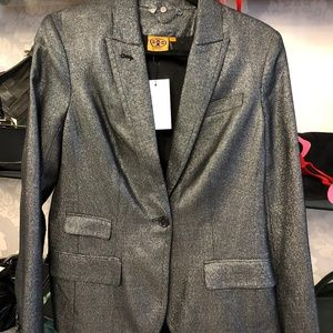 TORY BURCH Silver & Black Blazer/Jacket
